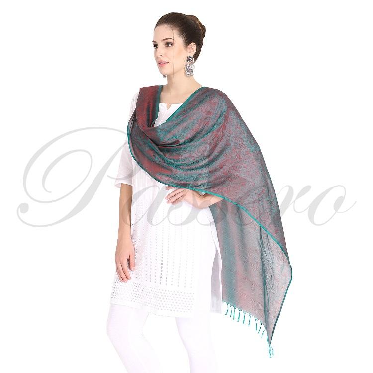 Passero Teal Colour Silk Stole