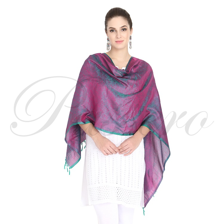 Passero Teal Blue With Fussia Silk Stole