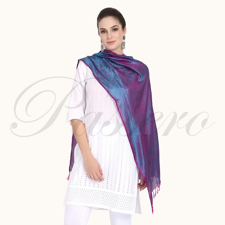 Passero Blue With Fussia Silk Stole